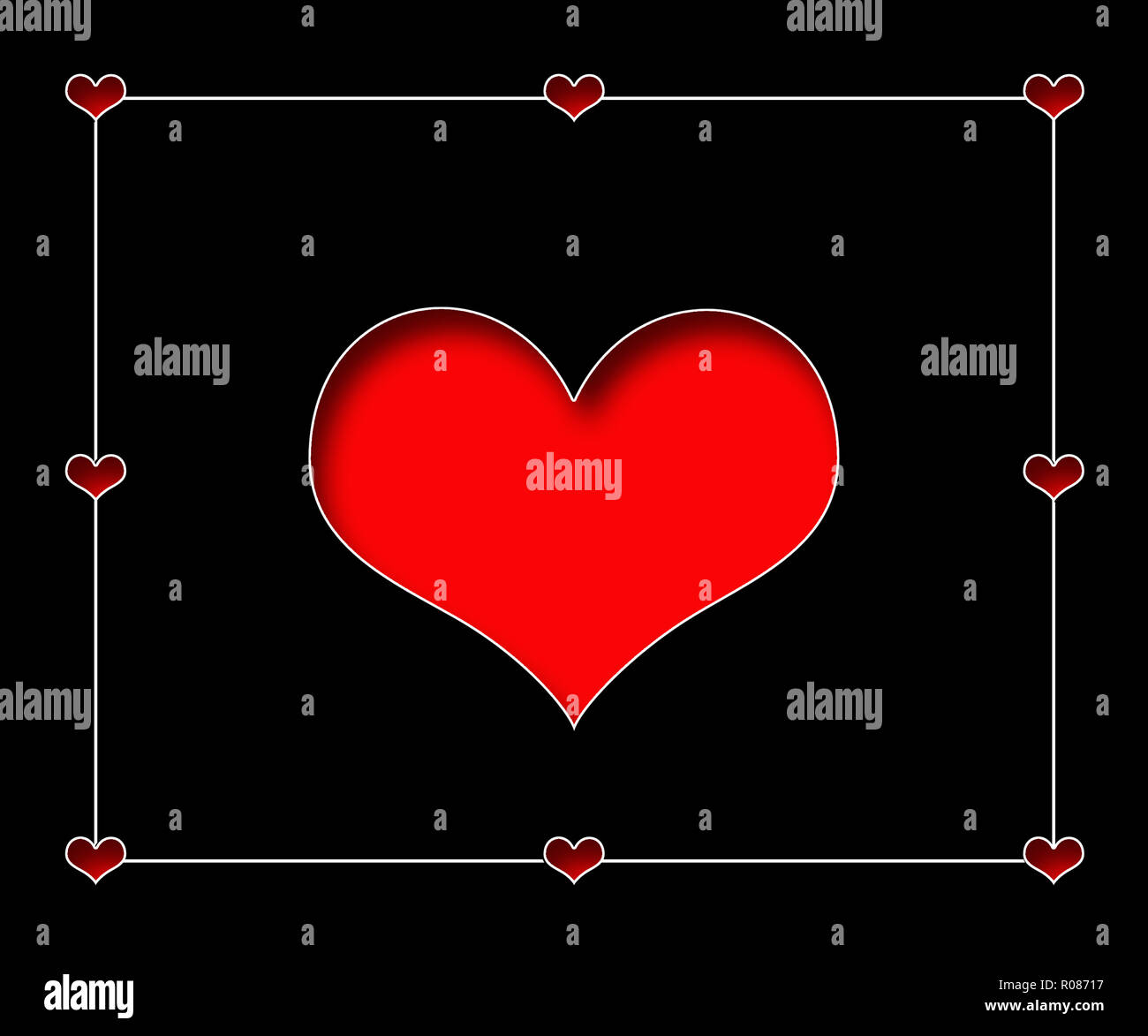 Large recessed red heart isolated on black background with smaller hearts in border.  Concept, romance and love - Stock Image
