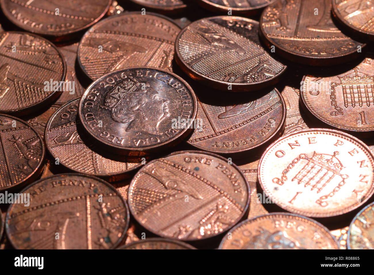 A heap of one pence coins Stock Photo