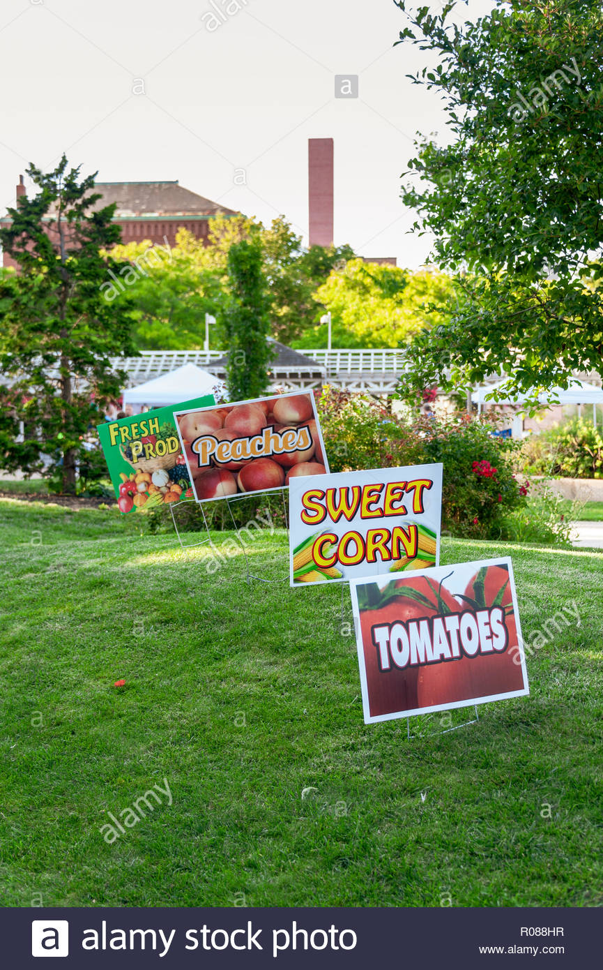 New Bedford, Massachusetts, USA - August 23, 2018: Line of signs promoting the produce at the New Bedford Farmers' Market - Stock Image