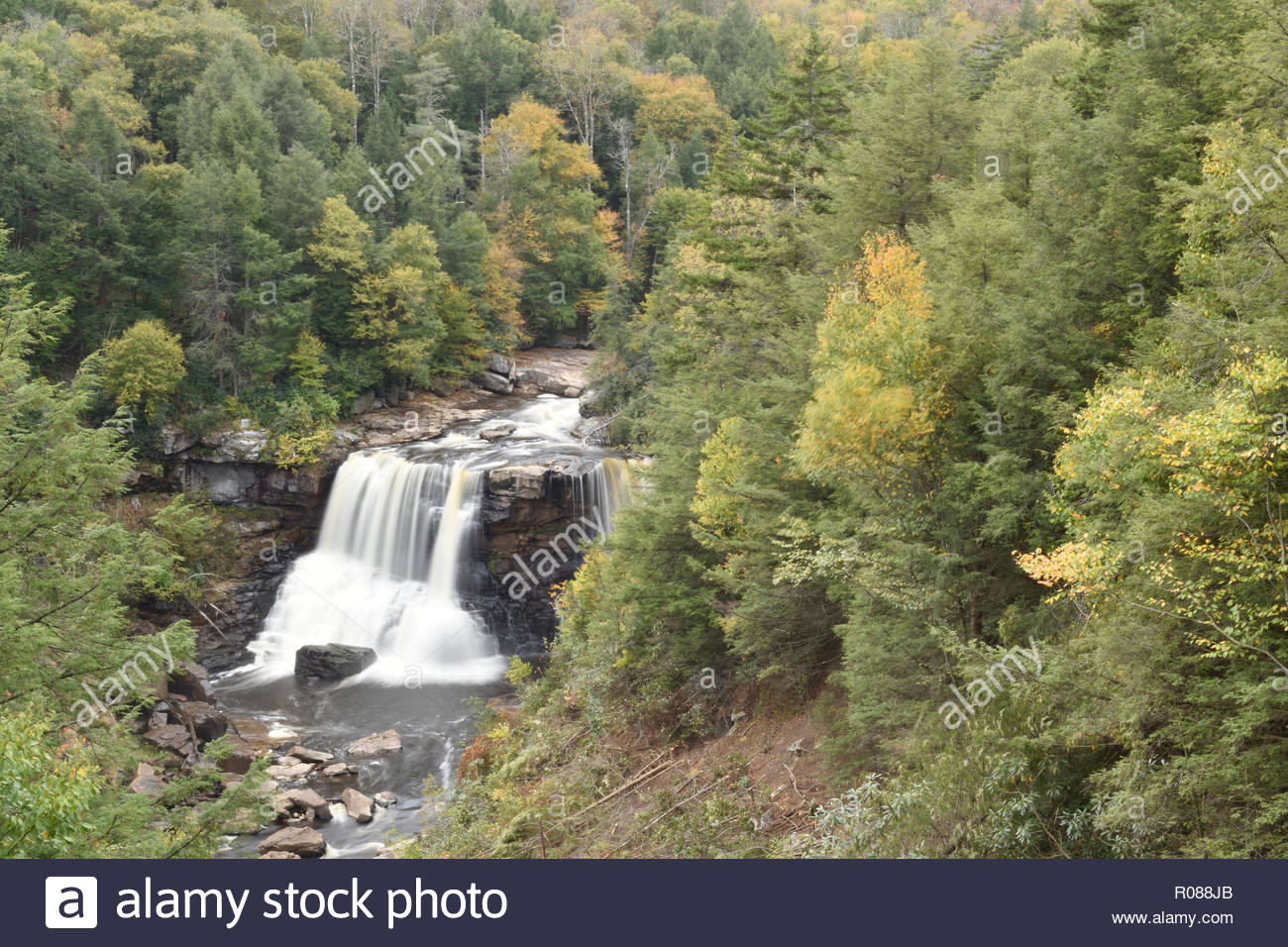 Blackwater Falls as viewed from overlook. Gentle Trail Overlook view of Blackwater Falls at Blackwater Falls State Park in West Virginia. Davis WV USA - Stock Image