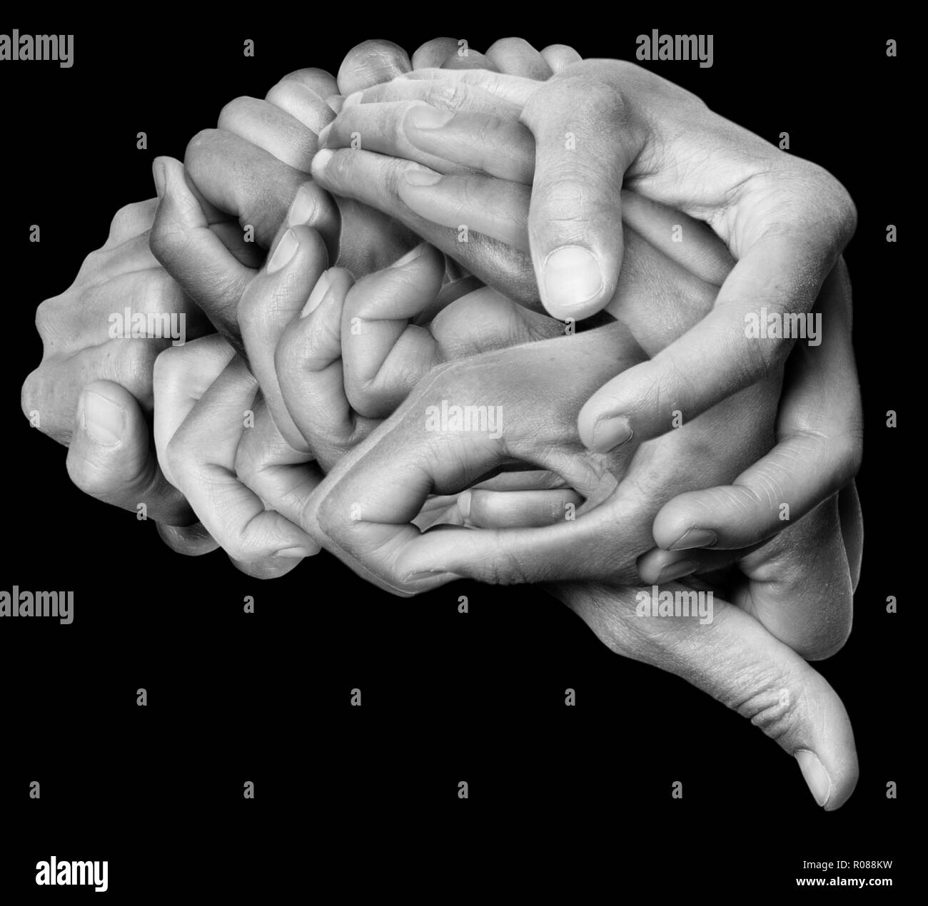 A human brain made with hands, different hands are wrapped together to form a brain. Black background. - Stock Image