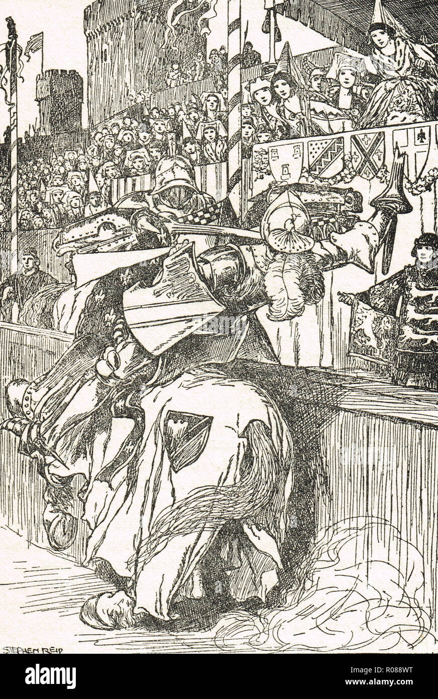 Knight struck by a lance, Medieval jousting tournament - Stock Image