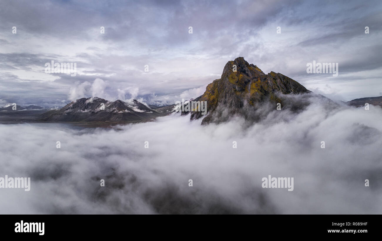 Aerial image of Eystrahorn Mountain on the South East coast of Iceland - Stock Image