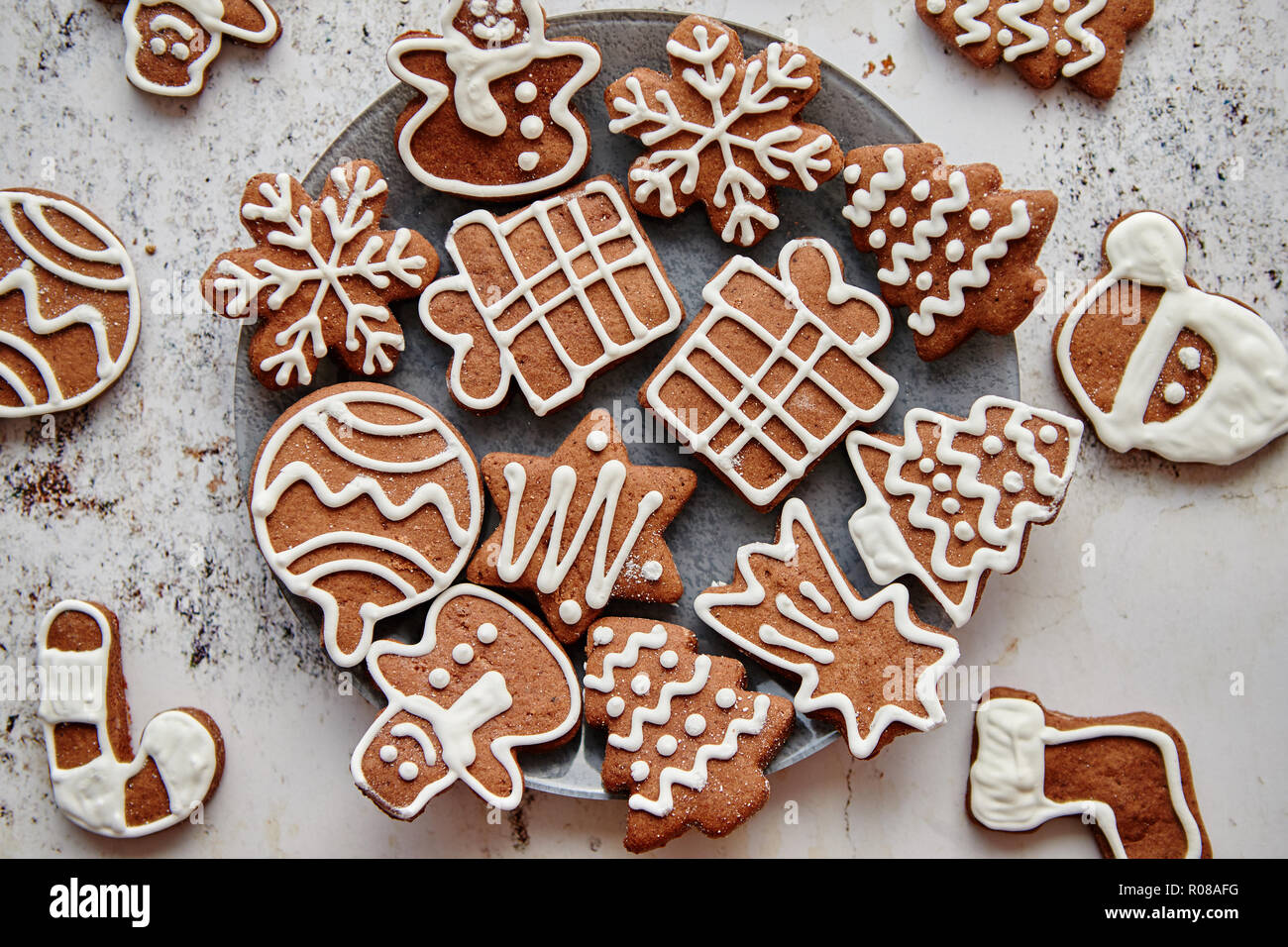 Fresh and tasty Christmas gingerbread cookies Stock Photo