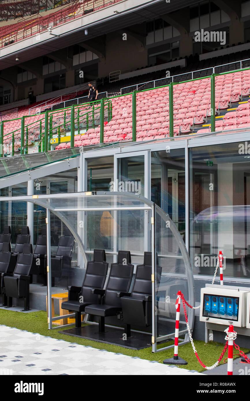 7 JUNE 2018, MILAN, ITALY: Elements of the interior stadium football teams Inter Milan and Milan in the city of San Siro. Stock Photo