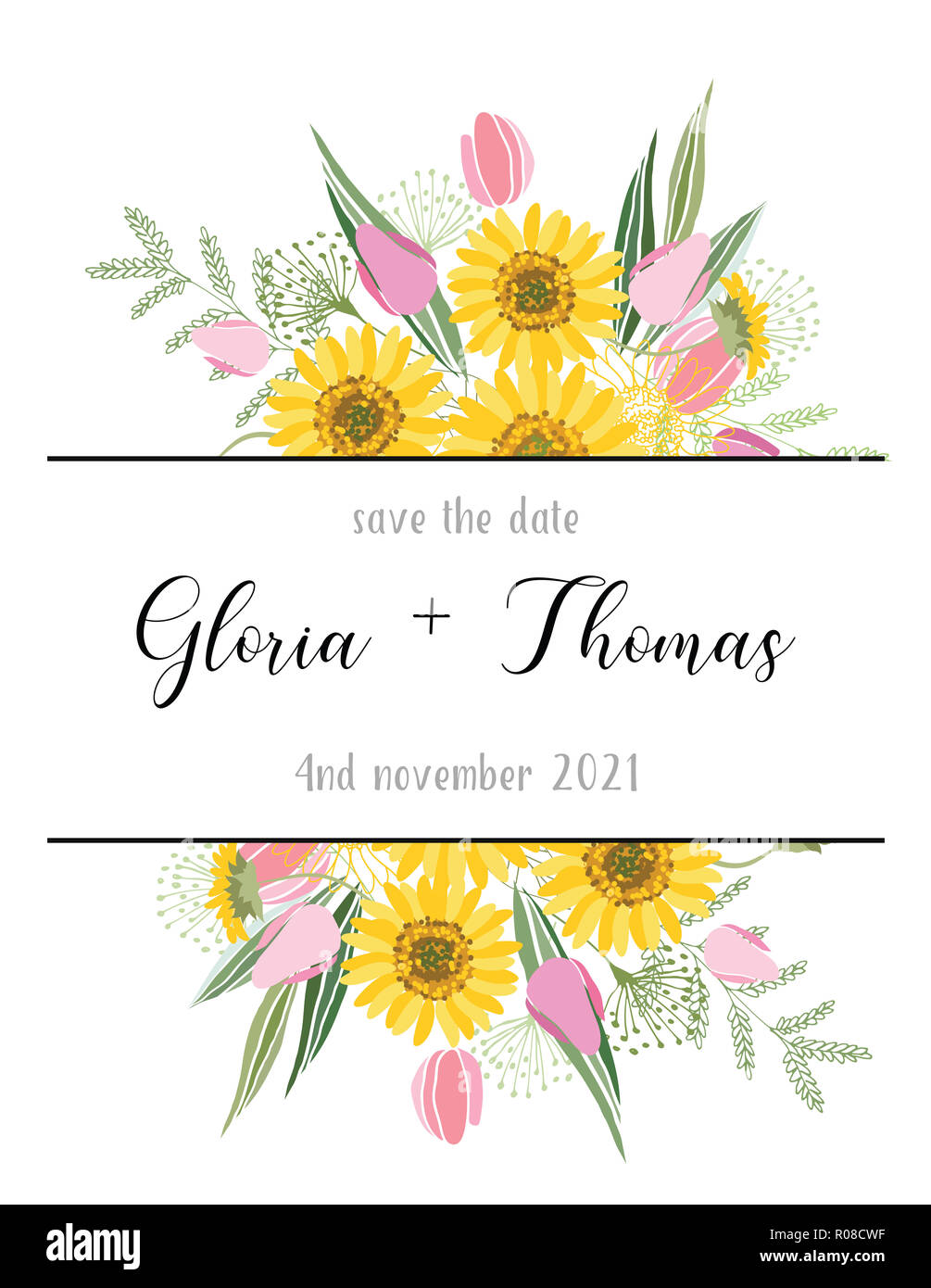Greeting card for the wedding day with a bouquet of flowers. Flower composition to a celebratory event. illustration - Stock Image