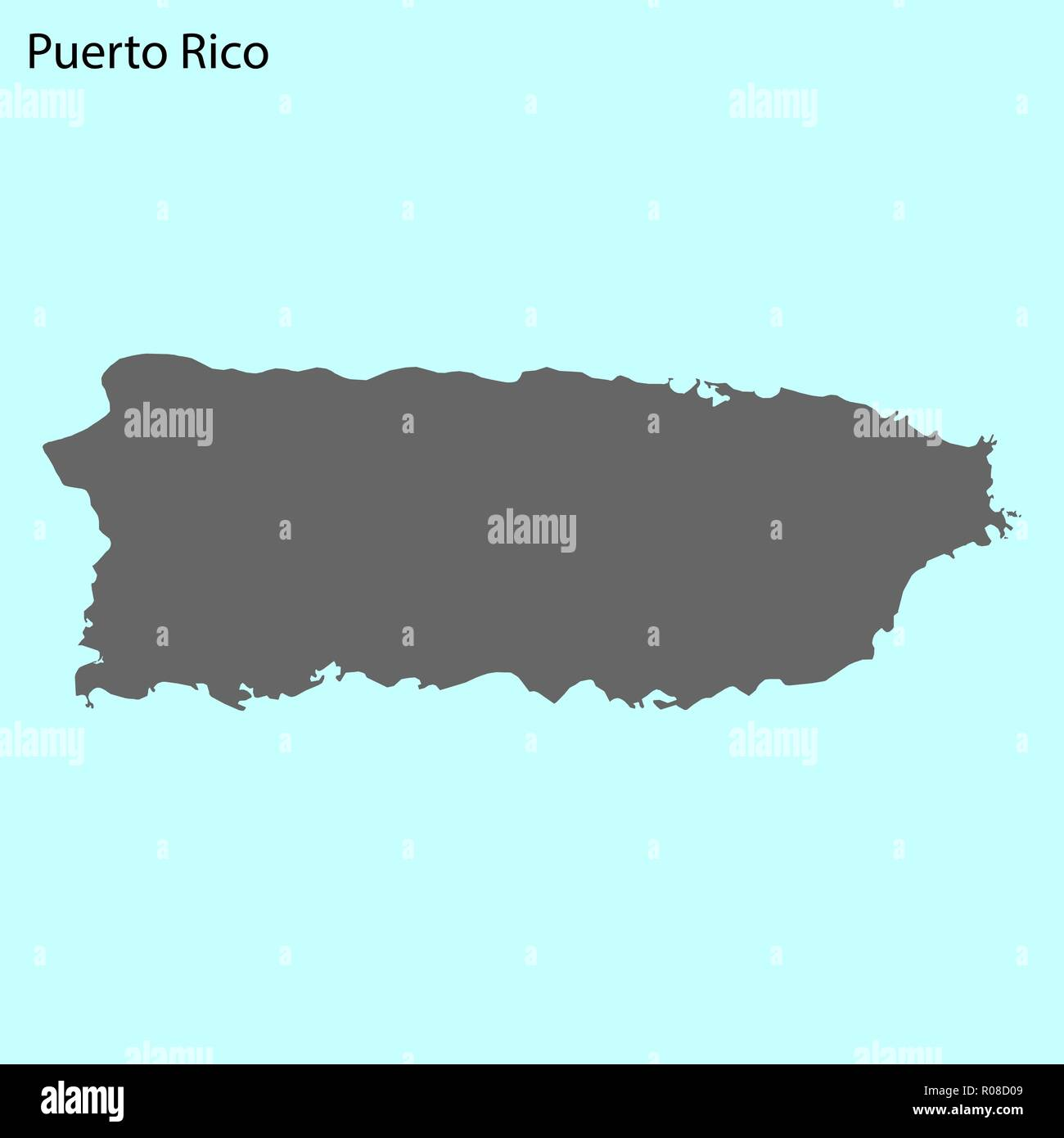 United States Map With Puerto Rico.High Quality Map Of Puerto Rico Is The Island Of United States Stock