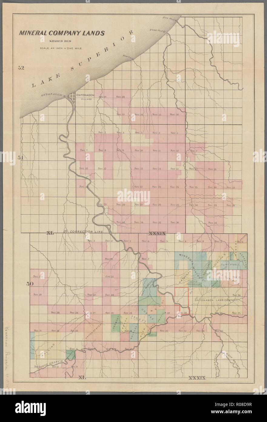 vintage american map from the old west days - Stock Image