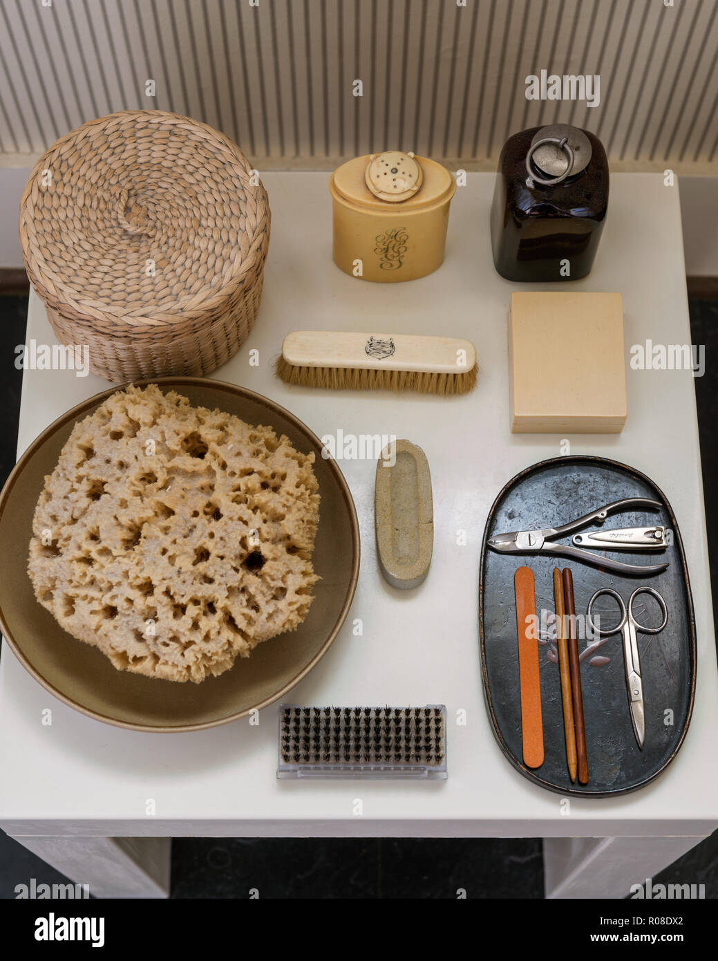 Beauty care products on bathroom table - Stock Image