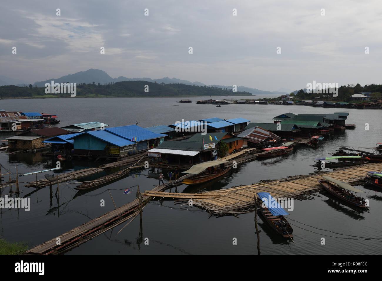 Floating houses, Sangkhlaburi, Kanchanaburi Province, ThailandStock Photo