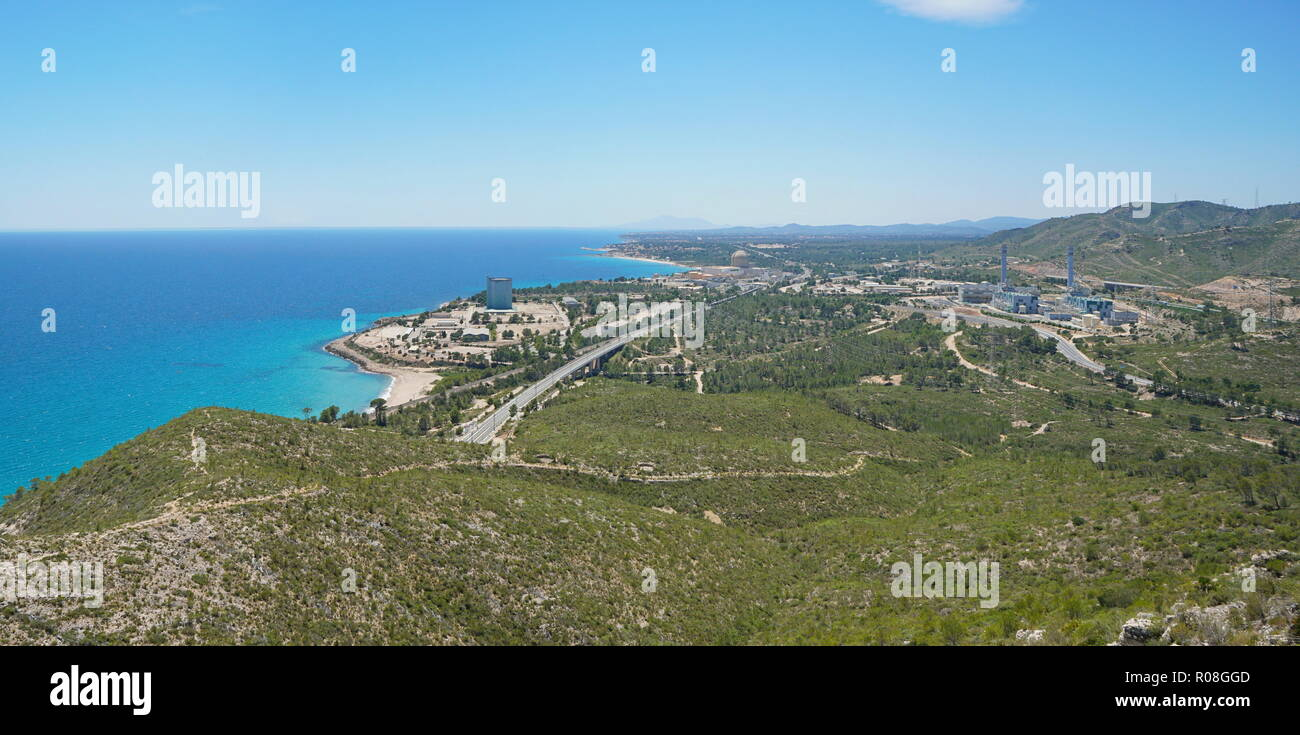 Spain viewpoint overlooking the Vandellos nuclear power plant on the coast near l'Hospitalet de l'Infant, Costa Dorada, Mediterranean sea, Catalonia - Stock Image