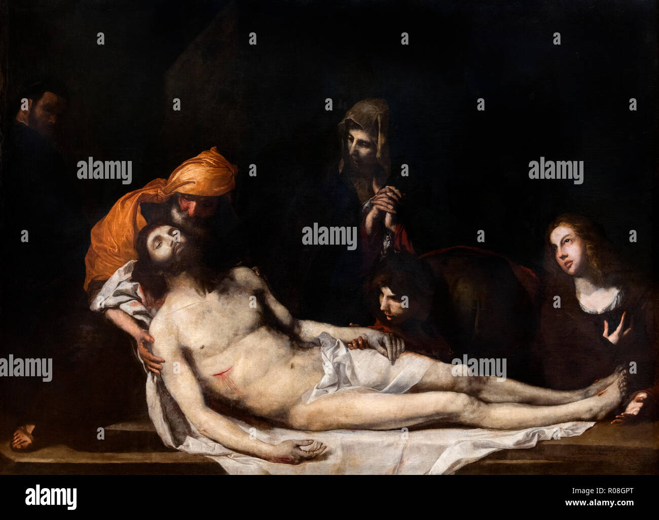The Burial of Christ by Jose de Ribera (Jusepe de Ribera c.1588/91- 1652/6), oil on canvas, 1645 - Stock Image