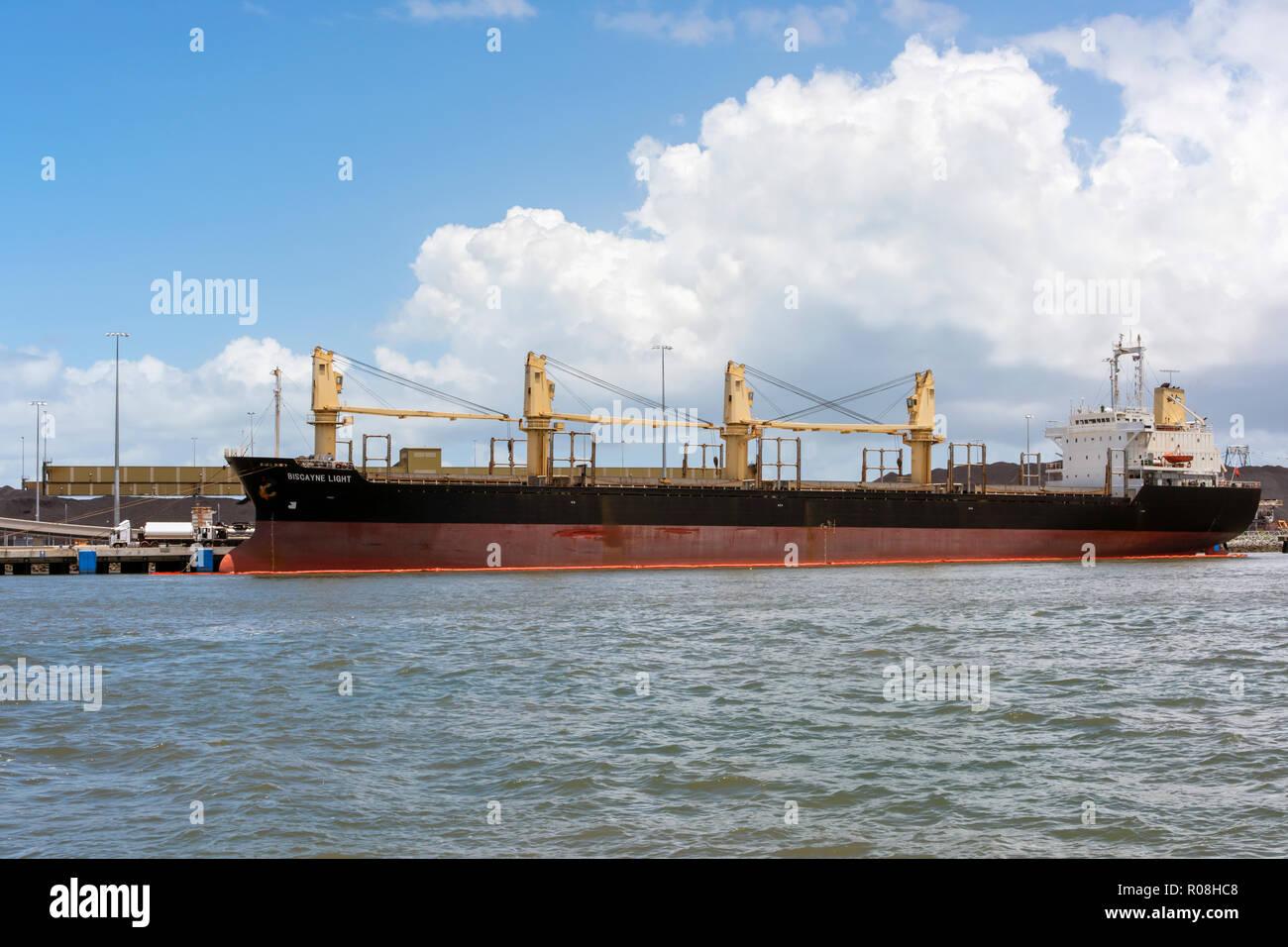 Mur Eco Splendor general cargo ship docked at terminal on Brisbane River. - Stock Image