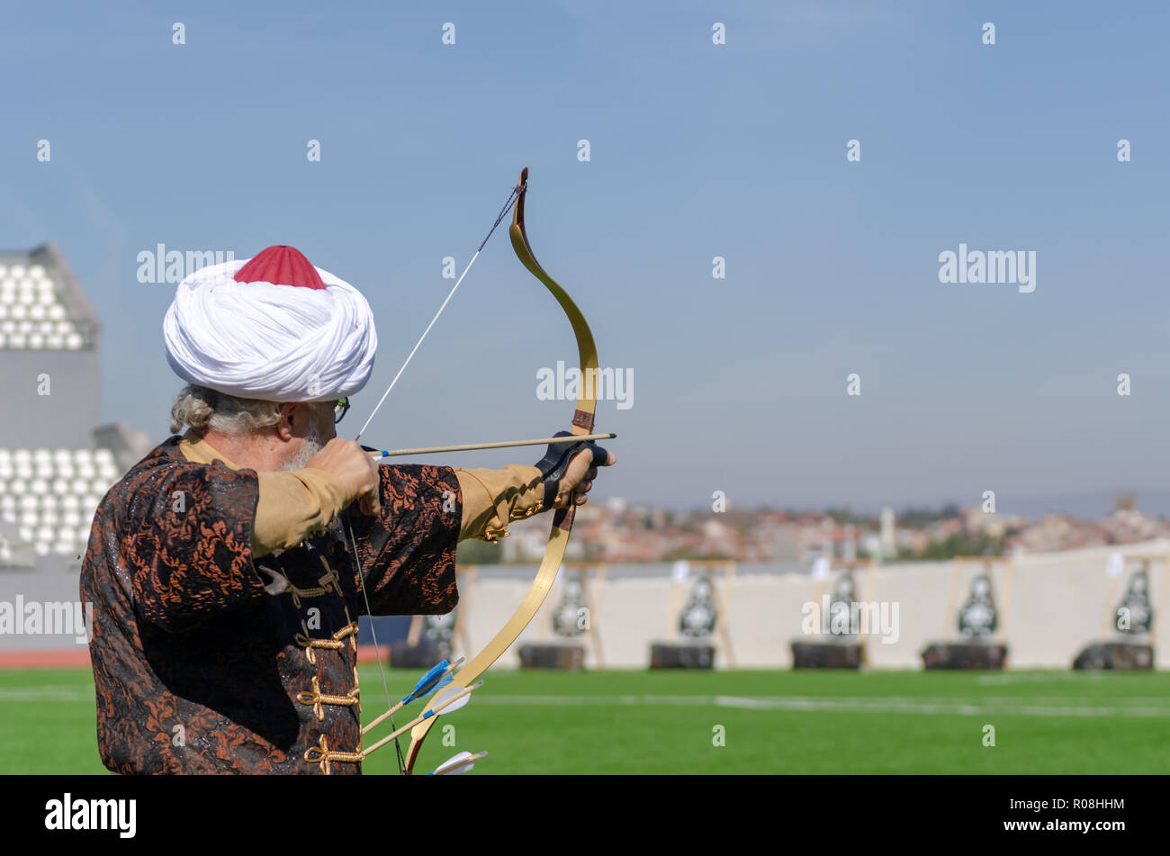 Eskisehir,TURKEY-October 28,2018:Traditional Archery .The athlete is shooting at the target. Stock Photo