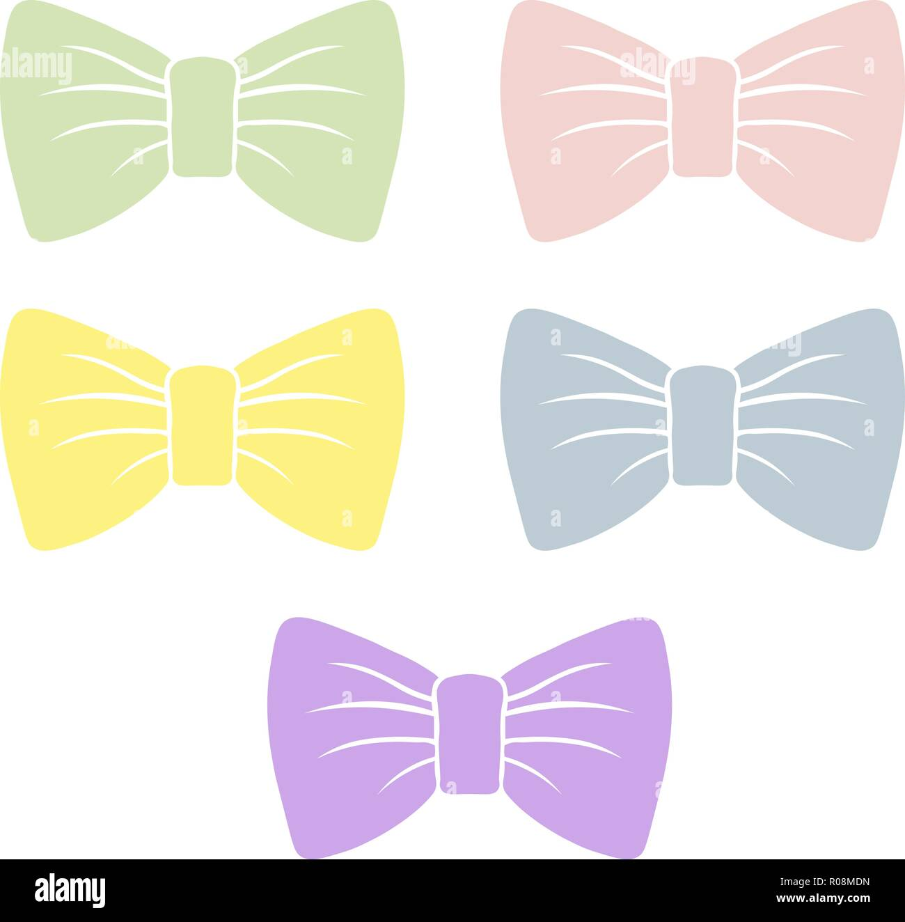 pastel bow silhouette for decoration and design. Set of vector gentle bows. - Stock Vector