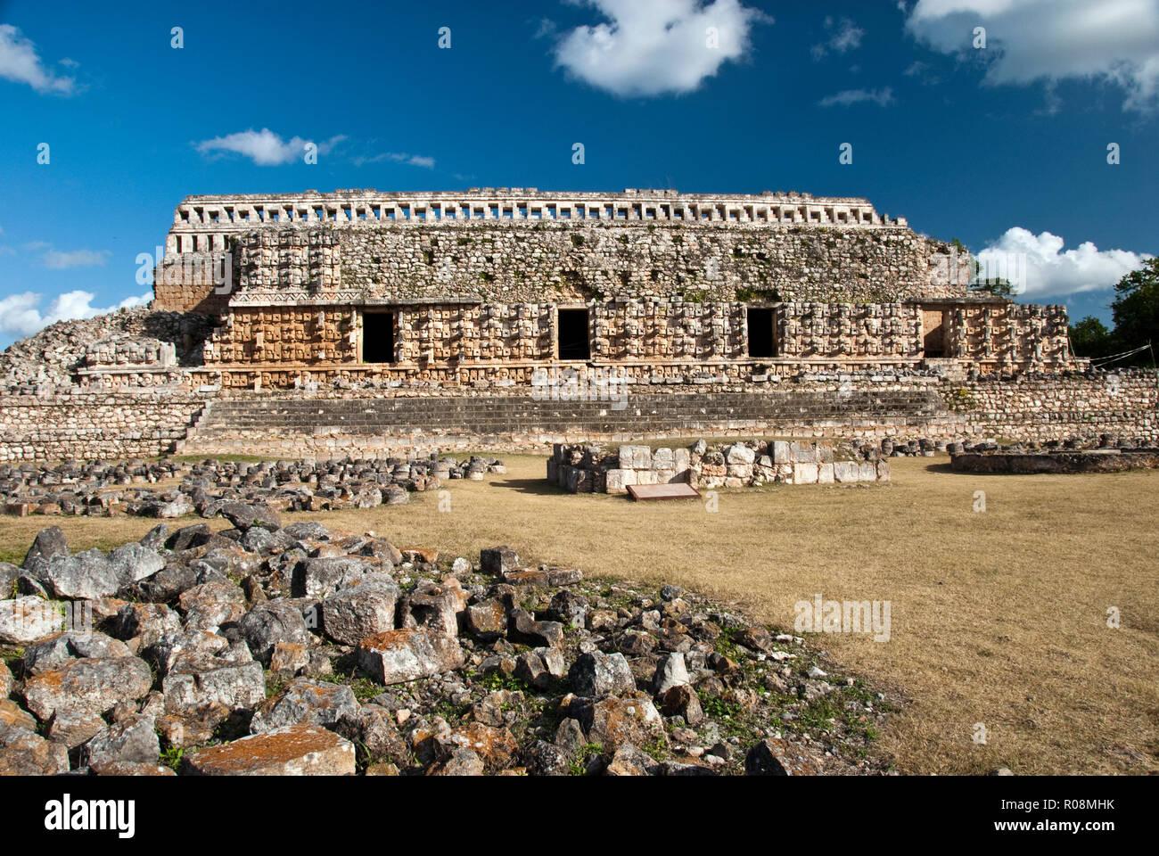 The Palace of Masks at the ancient Mayan site at Kabah, Yucatan, Mexico. - Stock Image