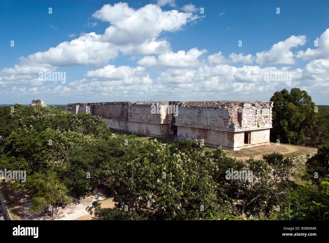 The Governor's Palace, viewed from the Great Pyramid, at the Mayan ruins at Uxmal, Yucatan, Mexico. - Stock Image