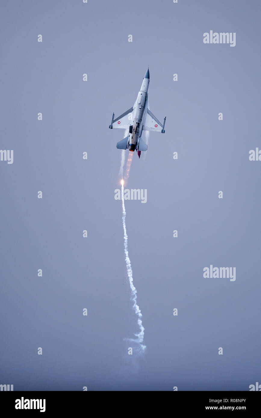 Uppsala, Uppsala län/Sweden - 08/25/2018: The Danish F-16 Fighting Falcon from Lockheed Martin in action at the Swedish Airforces showday in Uppsala Stock Photo