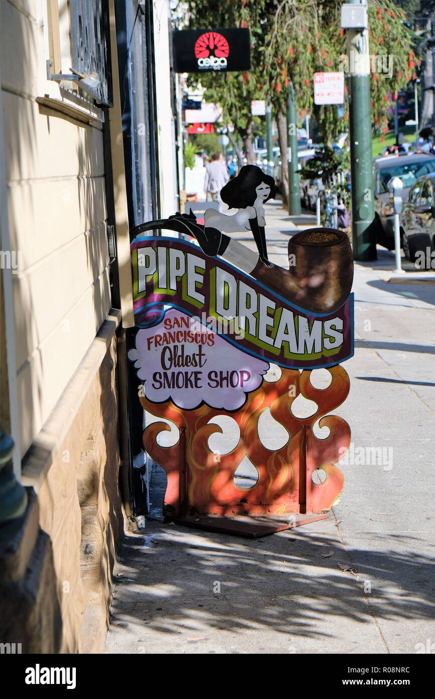 Sidewalk sign for Pipe Dreams, San Francisco's oldest smoke shop, Haight-Ashbury District, San Francisco, California, USA. - Stock Image
