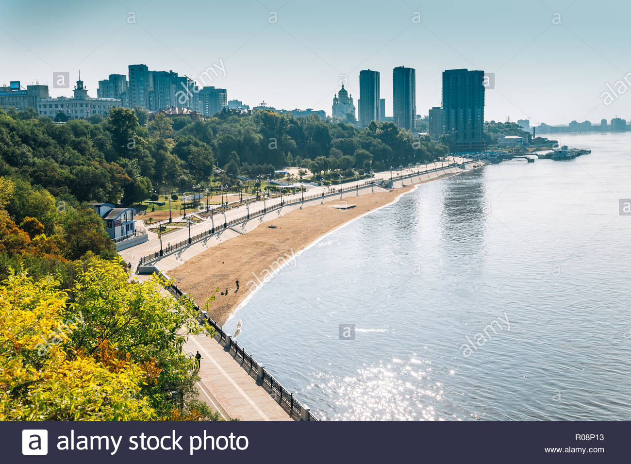 Amur river and city in Khabarovsk, Russia - Stock Image