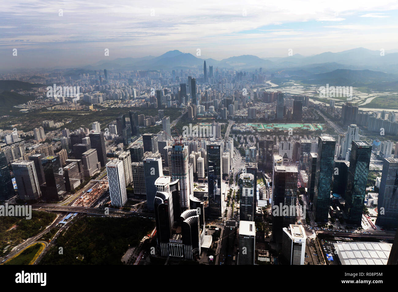 Luohu district as seen from the top of the Ping An tower in Shenzhen. - Stock Image