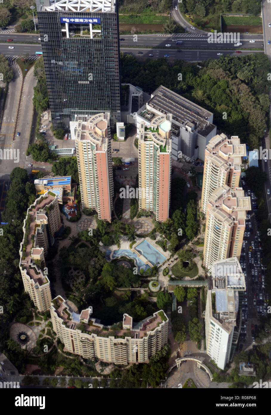 Aerial view of a residential complex in Futian, Shenzhen. - Stock Image