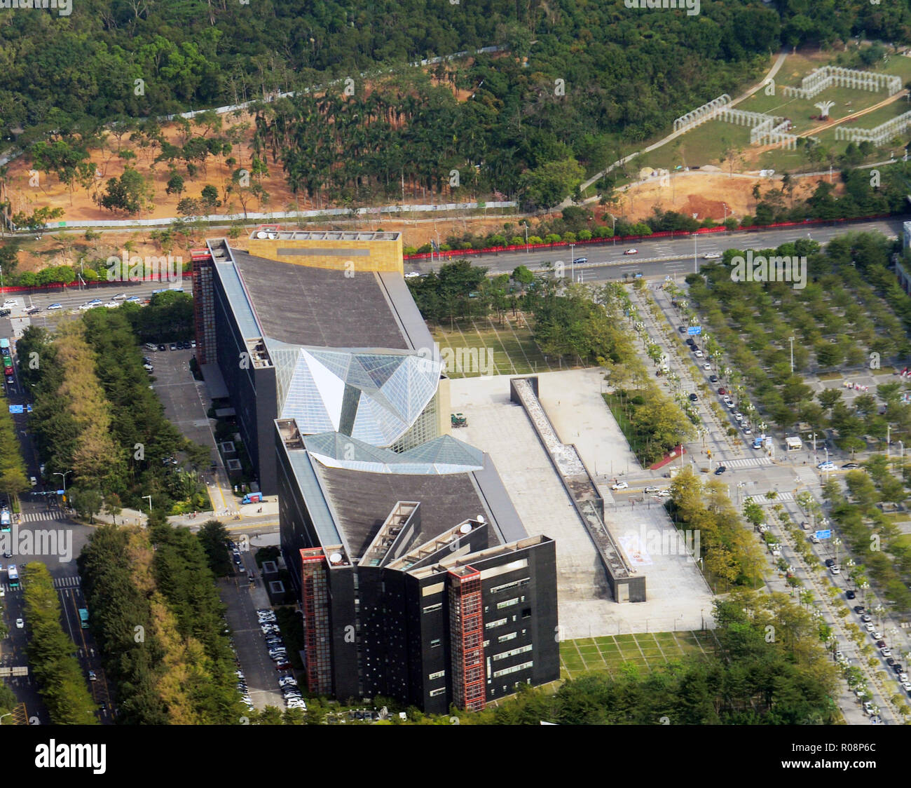 Aerial view of the Shenzhen Library in Futian, Shenzhen. - Stock Image