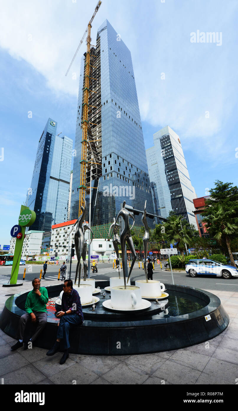 New skyscrapers under construction in Futian, Shenzhen. - Stock Image