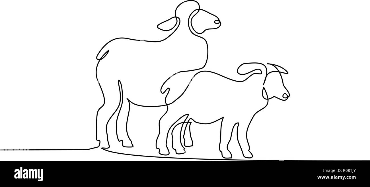 Modern Line Drawing Artists : Continuous one line drawing sheep in modern minimalistic