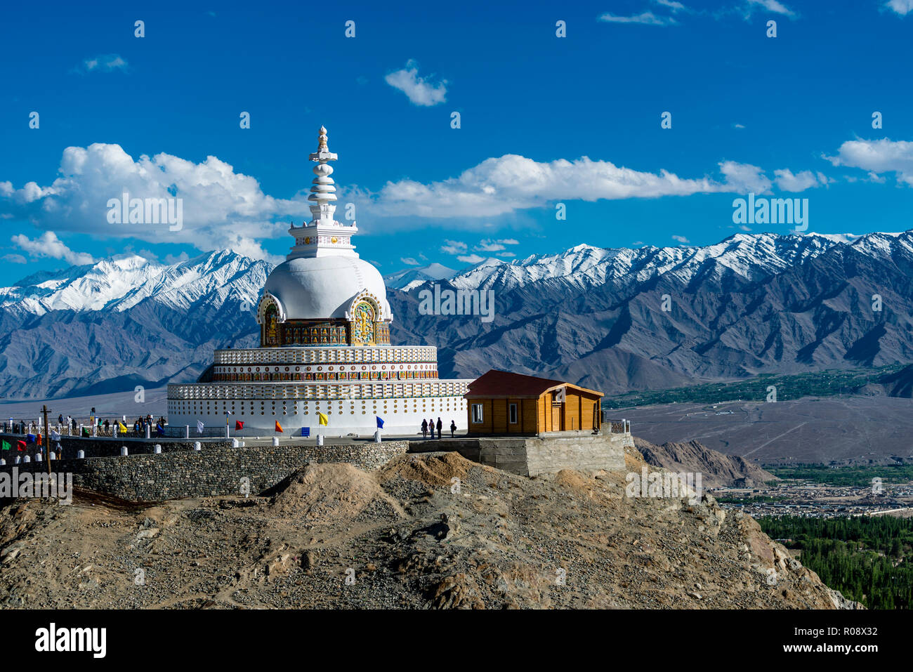 Shanti Stupa is a Buddhist white-domed stupa on a hilltop in Changspa and provides panoramic views of the surrounding landscape. Stock Photo