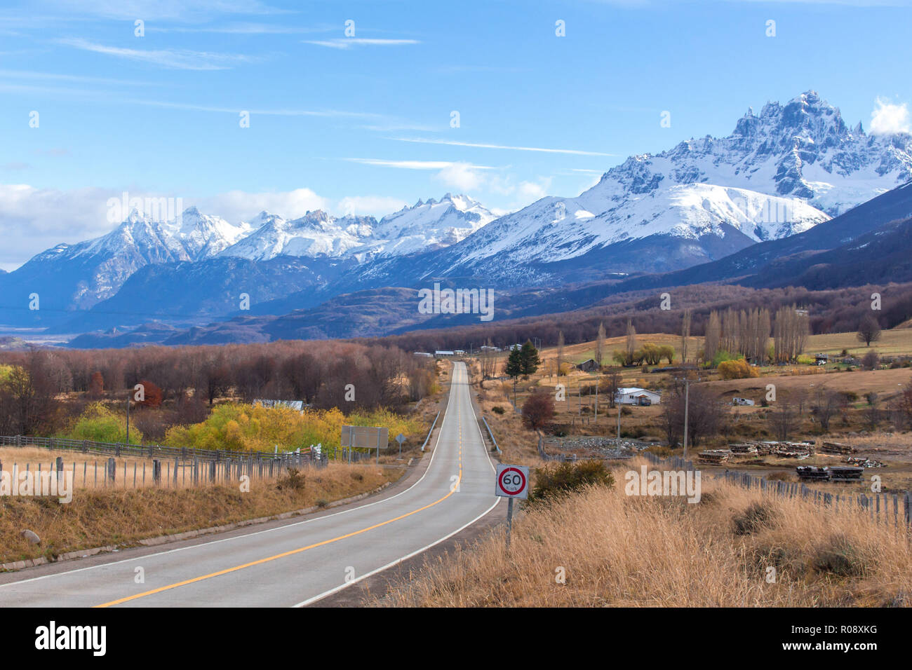 the route 7, known as the Austral Route or Carretera Austral, here with the andes moutains at the back near the city of Villa Cerro Castillo - Stock Image