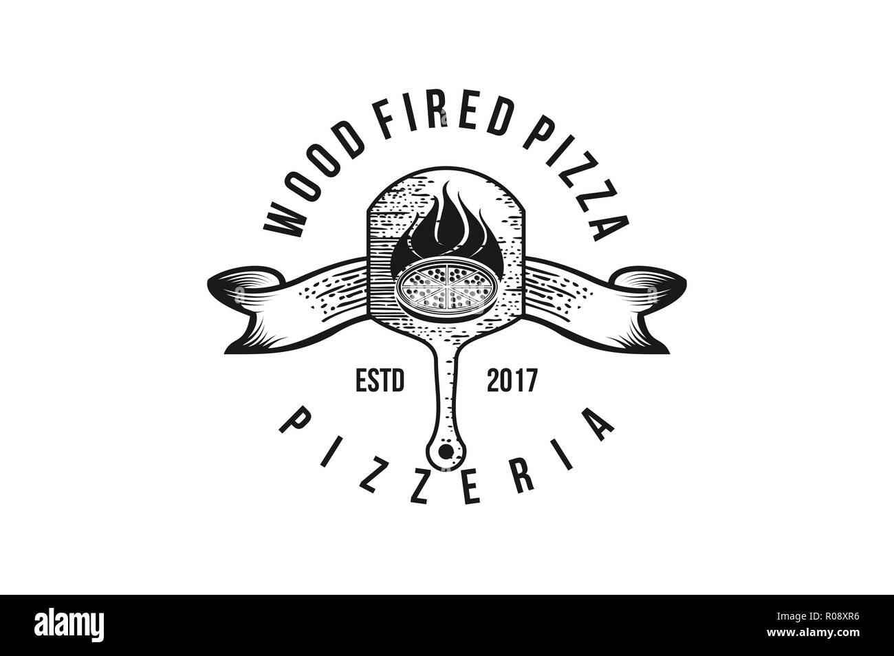 wood fired pizza classic logo design - Stock Vector