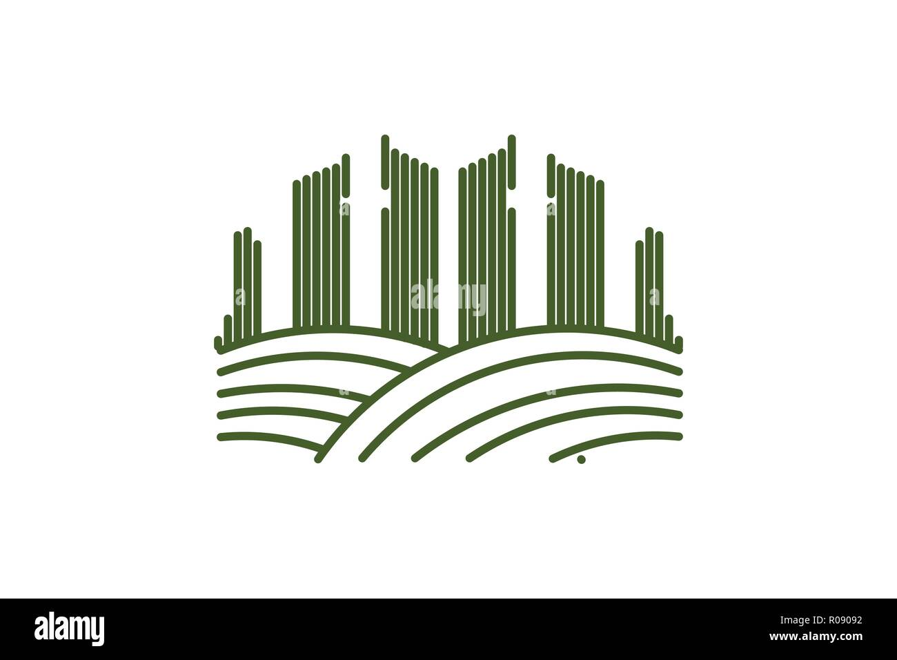 mono line city town landscape logo Designs Inspiration Isolated on White Background - Stock Vector
