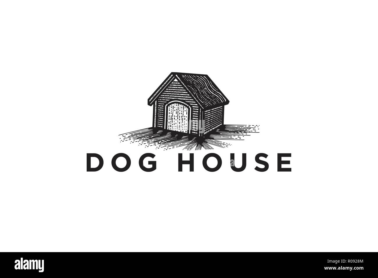 hand drawn dog house logo Designs Inspiration Isolated on White Background - Stock Image