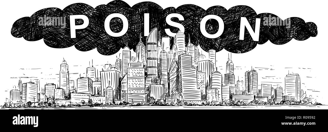 Vector Artistic Drawing Illustration of City Covered by Poisonous Smoke and Air Pollution Stock Vector