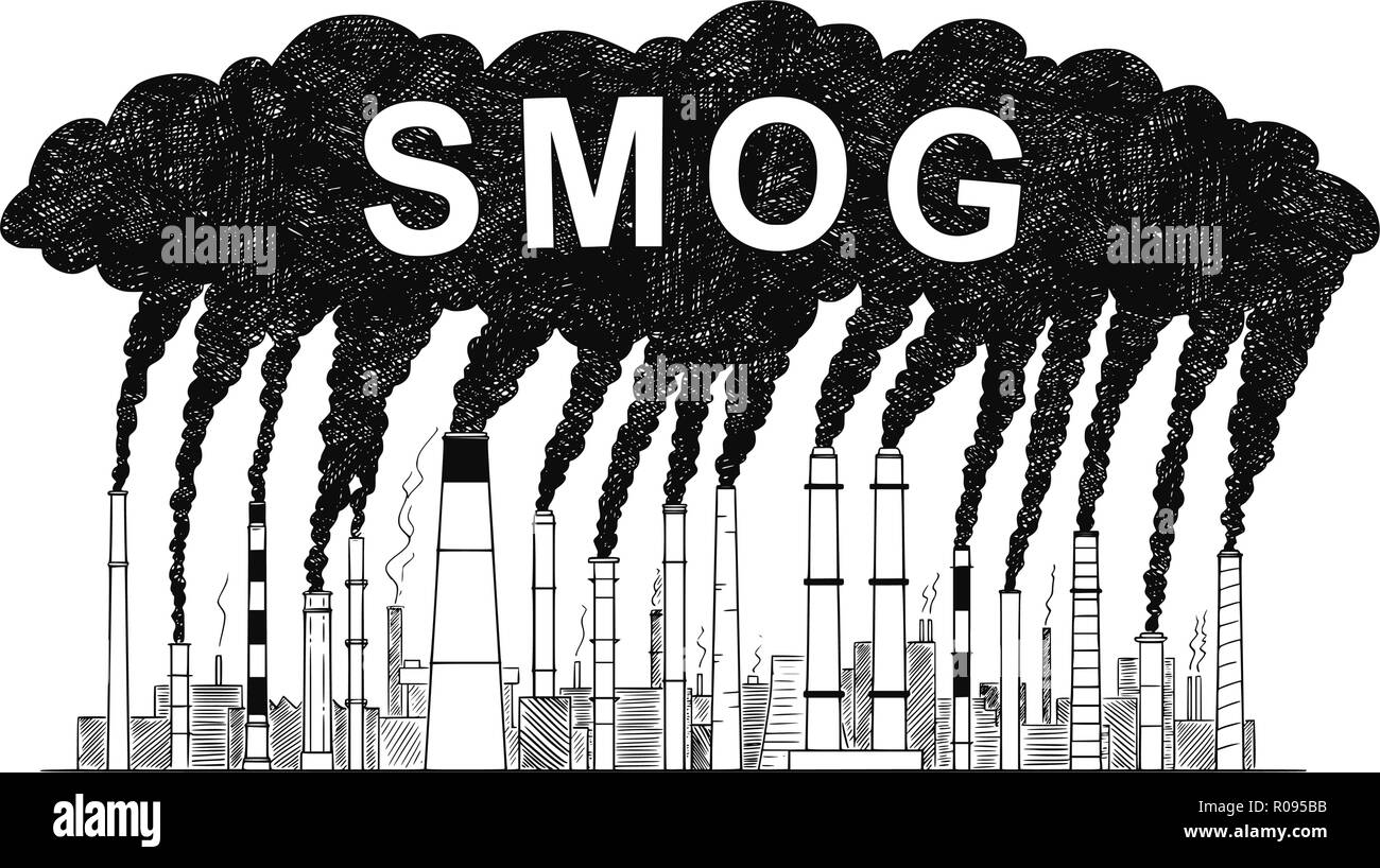 Factory pollution smog black and white stock photos images