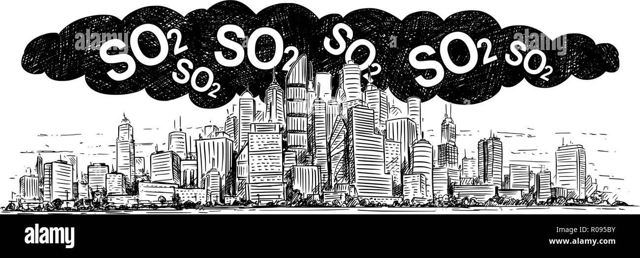 Vector Artistic Drawing Illustration of City Covered by Smog and SO2 Air Pollution - Stock Image