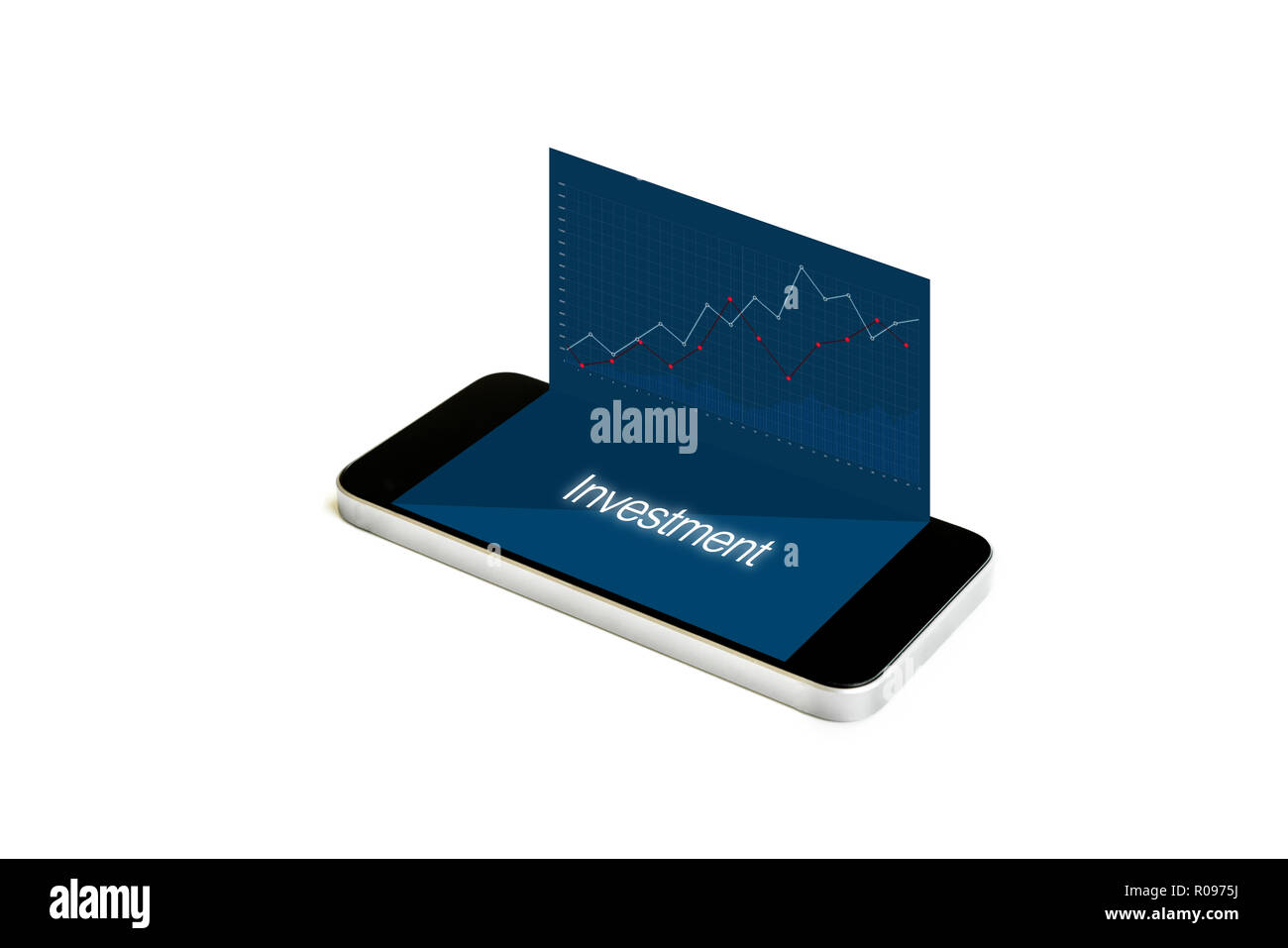 Mobile smart phone with raising graph, mobile stock market and investment - Stock Image