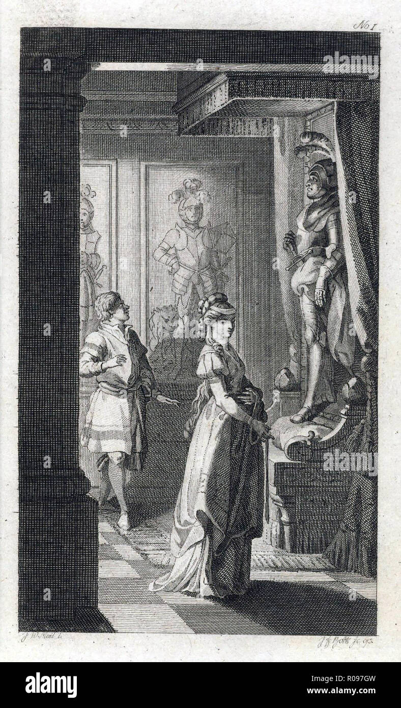 THE CASTLE OF OTRANTO  A 1794 engraving for a German edition of the 1764 novel by Horace Walpole - Stock Image