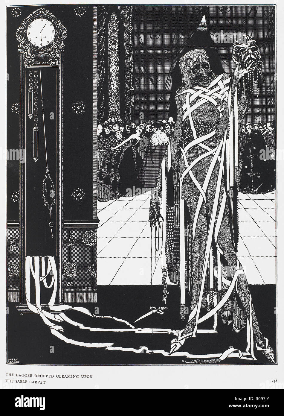 THE MASQUE OF THE RED DEATH, 1842 Gothic Horror short story by Edgar Allan Poe. Illustration by Harry Clarke for a 1919 edition. - Stock Image