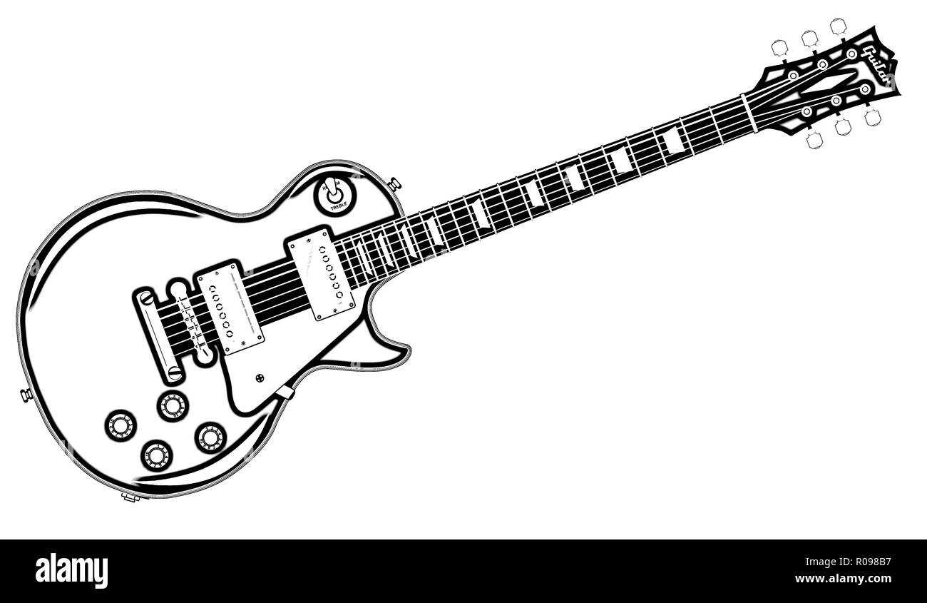 Electric Guitar Drawing On White Black And White Stock Photos