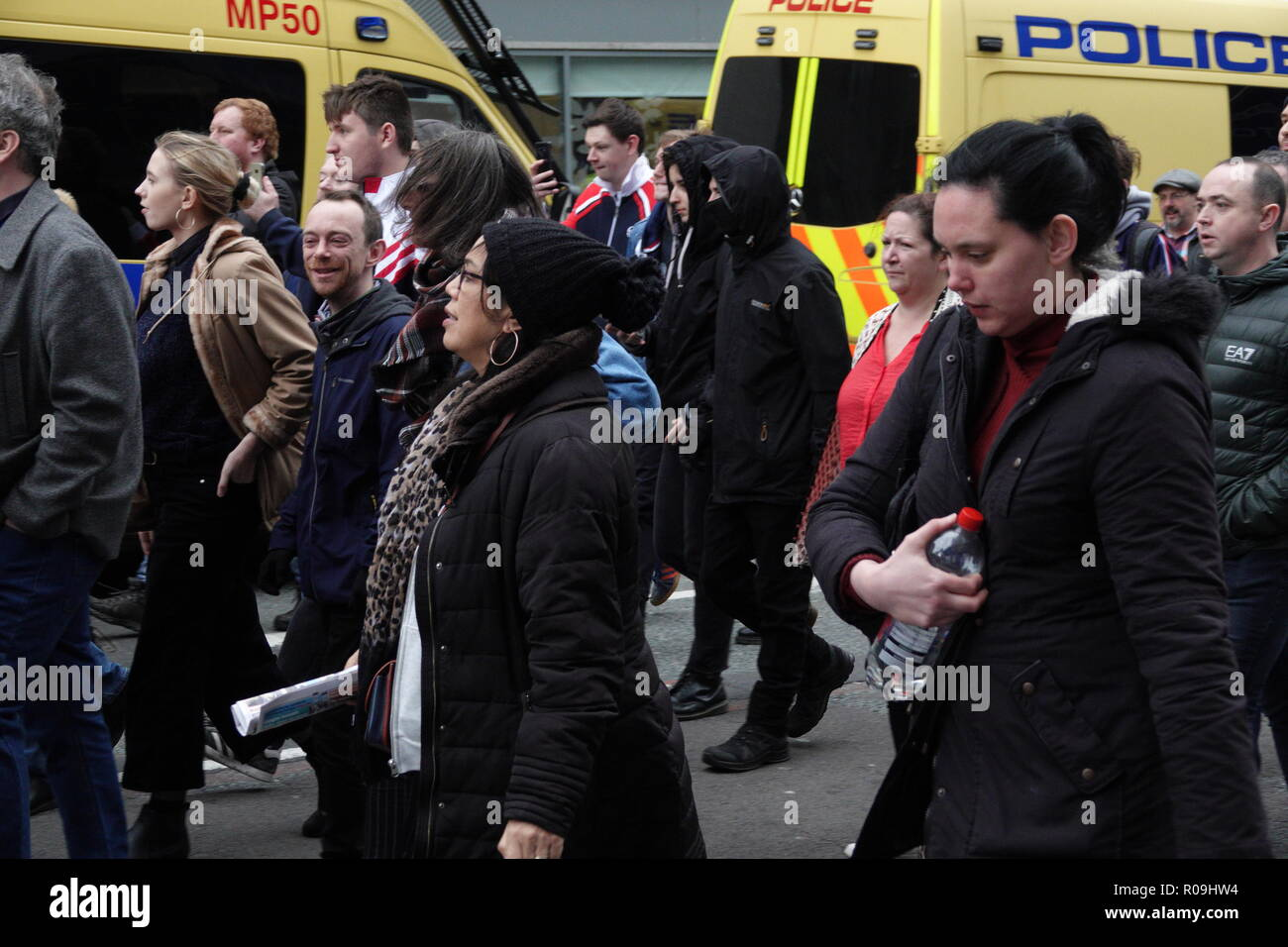 Liverpool, UK. 3rd November 2018.  The Fascist group 'Frontline Patriots' attempt to march through the streets of Liverpool but are met with powerful protest in response by members of the public and groups such as 'Stand up to Racism' and 'Unite against Fascism'. Credit: Ken Biggs/Alamy Live News. - Stock Image