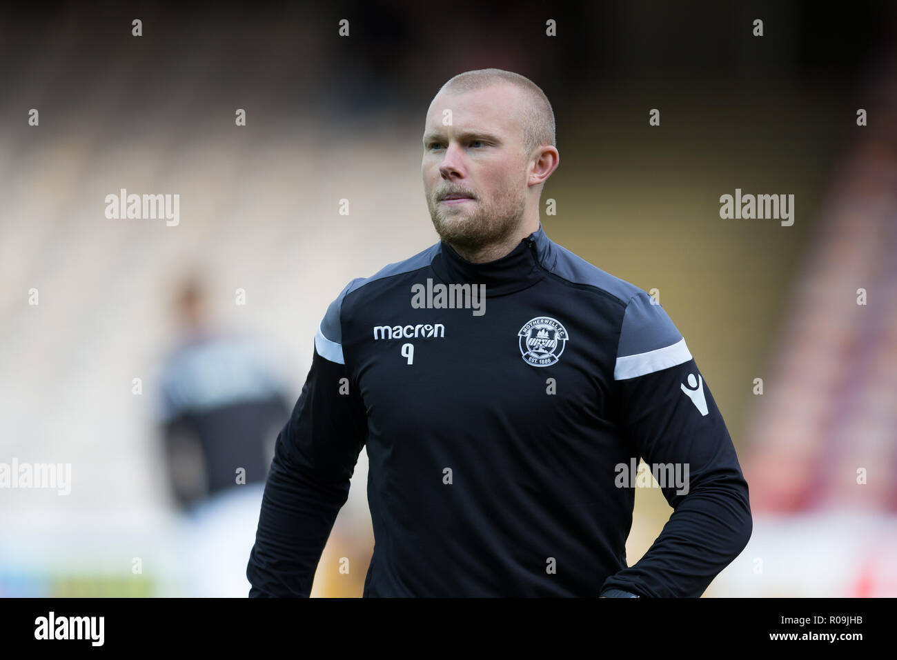Fir Park, Motherwell, UK. 3rd Nov, 2018. Ladbrokes Premiership football, Motherwell versus Dundee; Curtis Main of Motherwell during the warm up Credit: Action Plus Sports/Alamy Live News Stock Photo