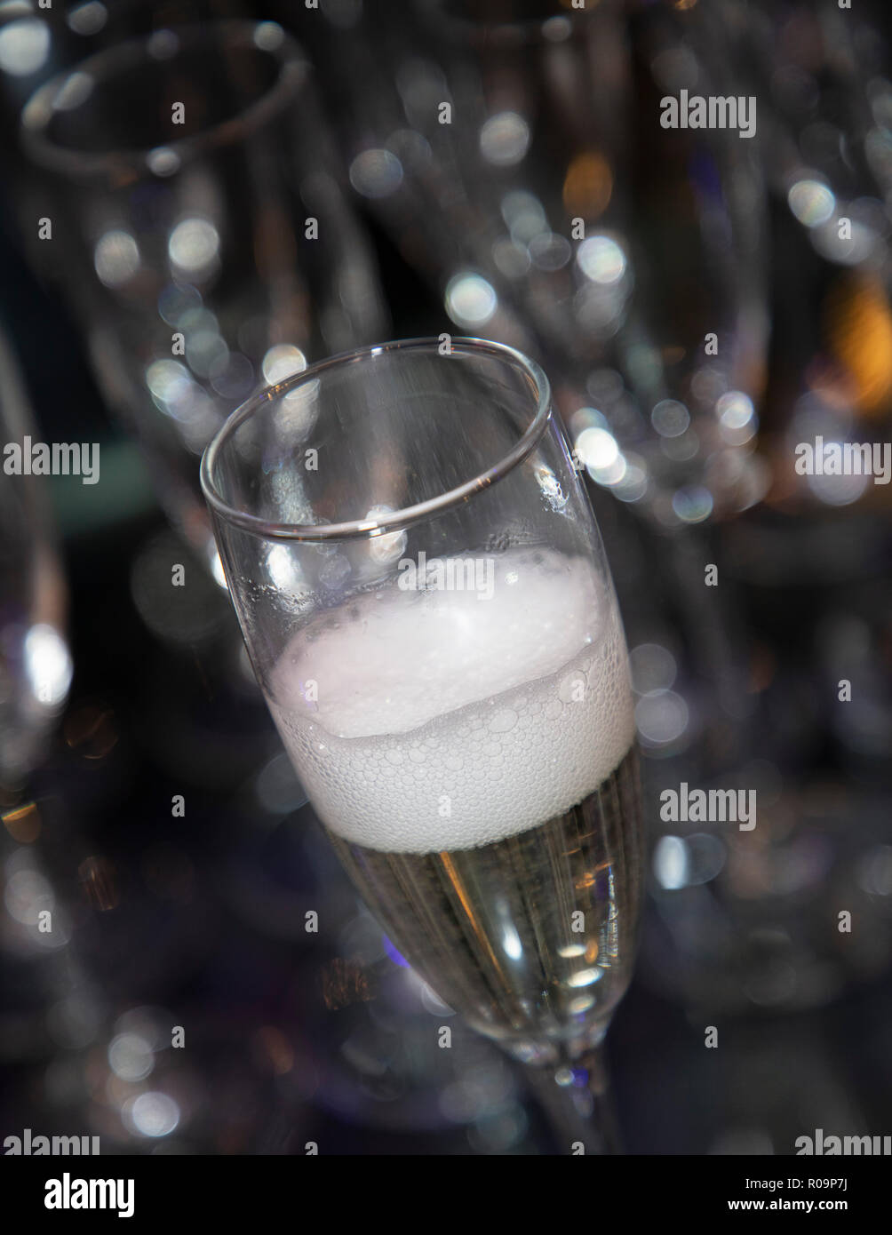 Glass of sparkling wine just poured with a bubbly head. Blurred, bokeh background - Stock Image