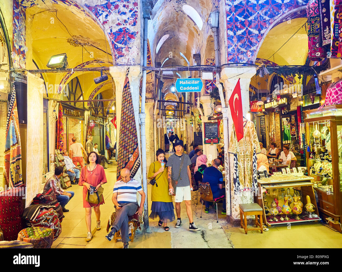 Asiatic Tourists At The Passageways Of Kapali Carsi Grand Bazaar Istanbul Turkey