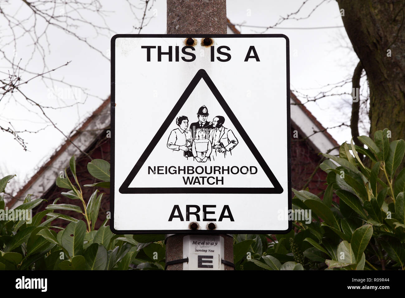 This is a neighbourhood watch area sign. - Stock Image
