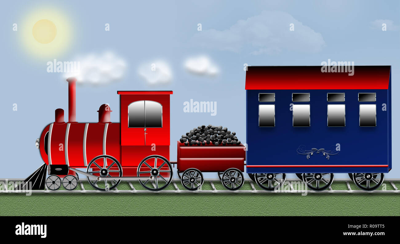 Graphic illustration of old time train carrying with it a wagon of coal and a passenger car on tracks.  Blue sky with puffs of smoke. - Stock Image
