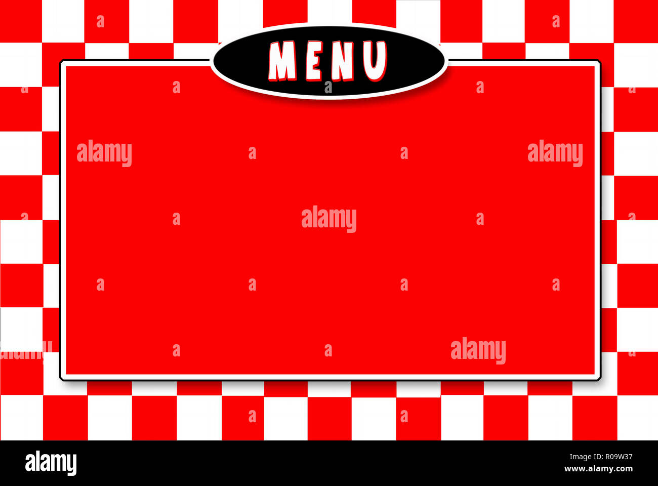 Assortment of Italian red and white checked background ideal for menus and signs.   Text on some, Pizza, Pasta Night, Menu, Italian Menu.  Graphic - Stock Image