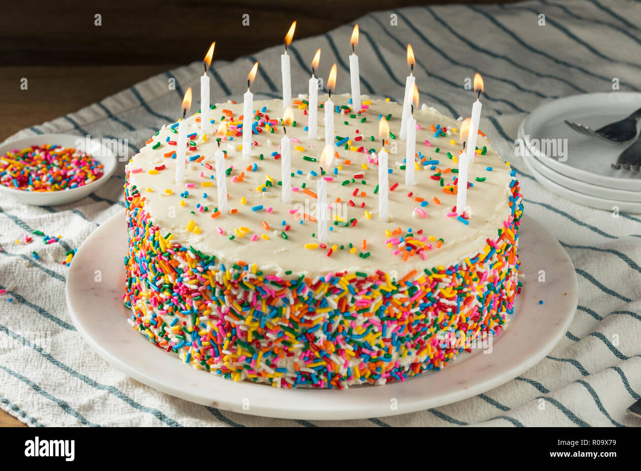 Homemade Sweet Birthday Cake With Candles Ready To Serve