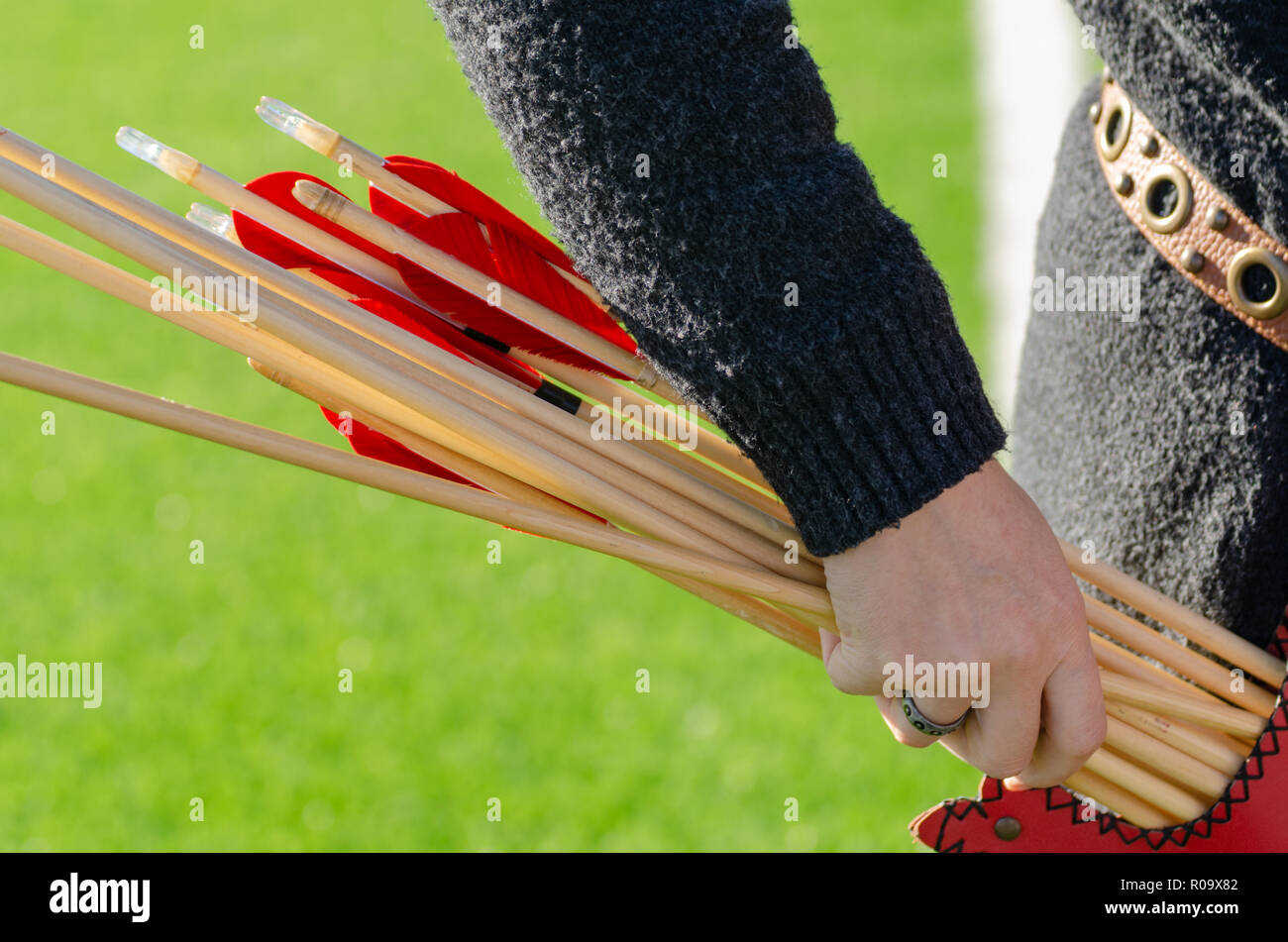 Traditional Archery Competitions.Female archer is checking the arrows before the competition. - Stock Image